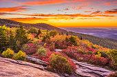 Grandfather Mountain, North Carolina, USA autumn dawn from Rough Ridge.