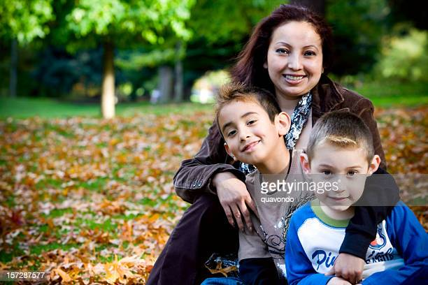 Autumn Day, Hispanic Family, Single Mom with Two Sons, Copyspace