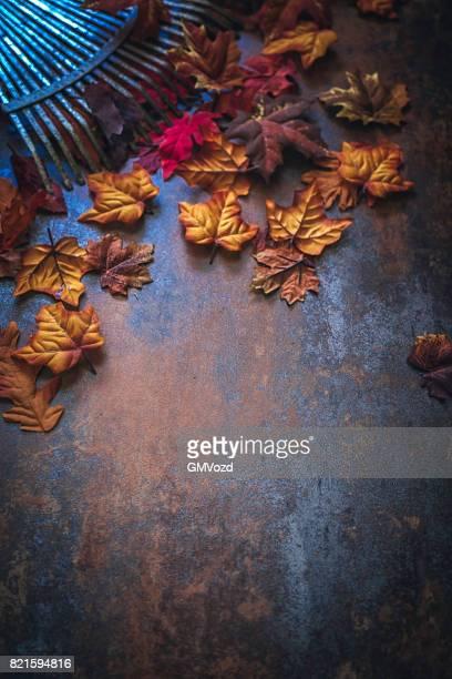 Höstens inredning med löv på rustika bakgrund
