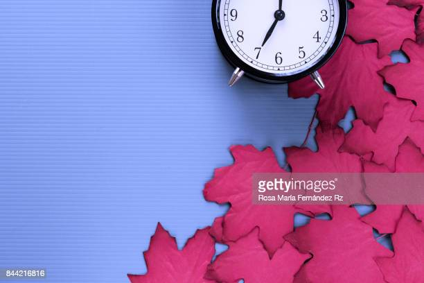 Autumn frame with falling red maple leaves  and alarm clockon blue background. Design with text space. Subject captured against soft window lighting.