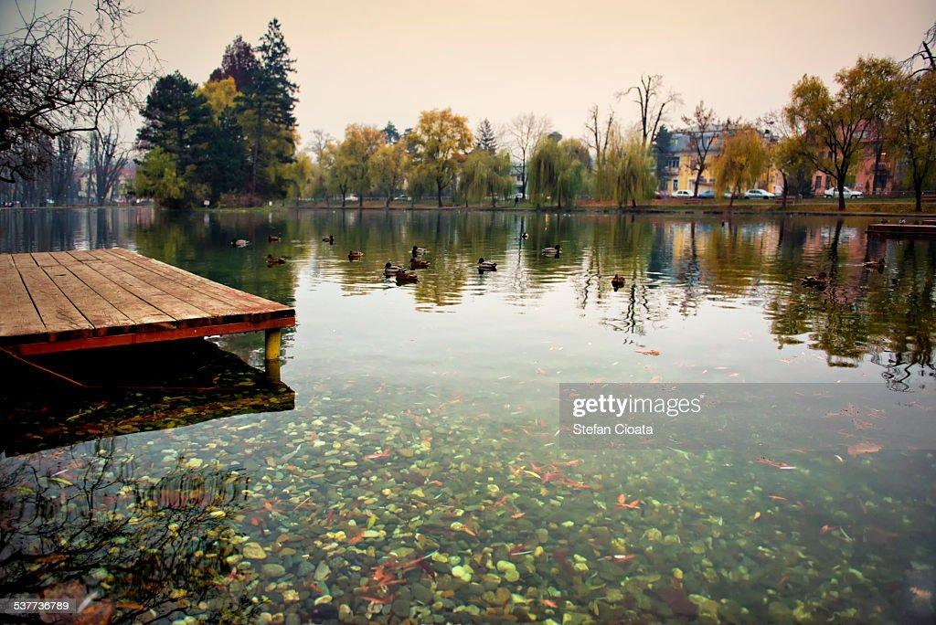 Autumn landscape at Chios Lake