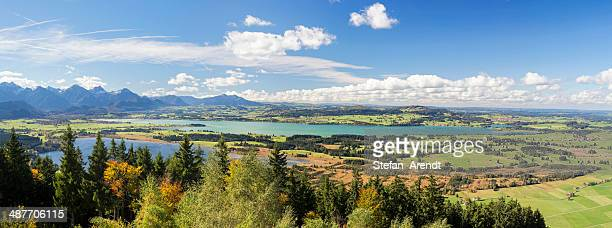 Autumn landscape near Buchenalp overlooking Ostallgaeu with the lakes of Forggensee and Bannwaldsee, Bavaria, Germany
