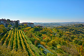 The autumnal landscape around the historic Slovenian town of Smartno in the Brda municipality of Slovenian Littoral.