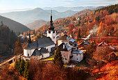 Autumn landscape of Spania Dolina (Špania Dolina) near Banska Bystrica, Slovakia