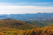 Autumn landscape view of the Blue ridge mountain range surrounding Brasstown Bald Mountain in north Georgia USA.