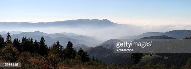 autumn landscape with fog in the Black Forest (Germany)