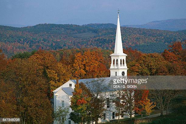 Autumn landscape with the Peacham Congregational Church Vermont United States of America