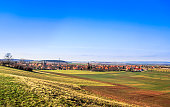 View on autumn landscape with view on monastery by Druebeck in Germany