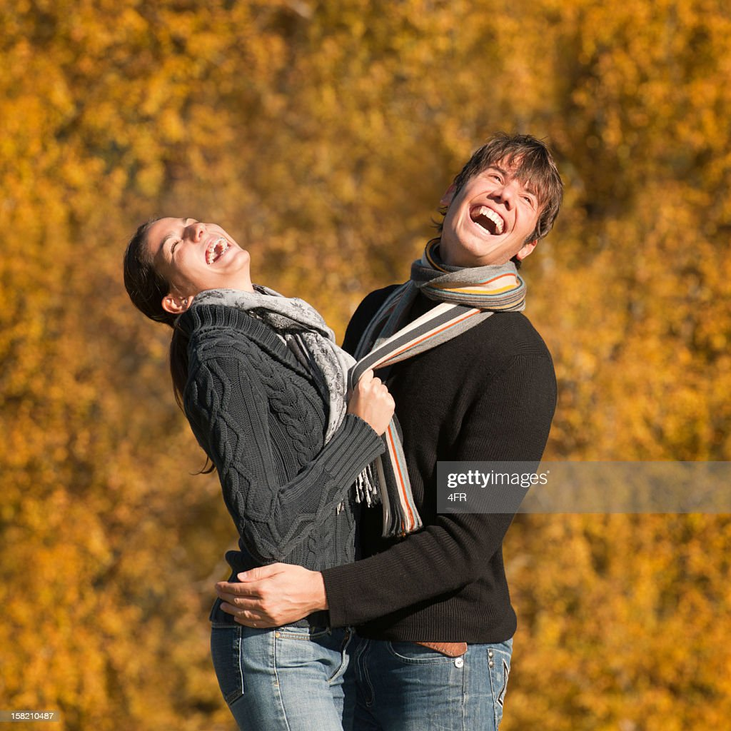 Autumn Love - Candid Couple Portrait (XXXL) : Stock Photo