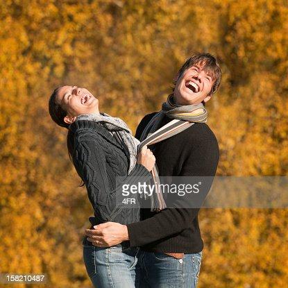 Autumn Love - Candid Couple Portrait (XXXL) : Stock Photo
