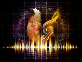 Autumn leaf, treble and music spectrum waves against fractal background on subject music arts