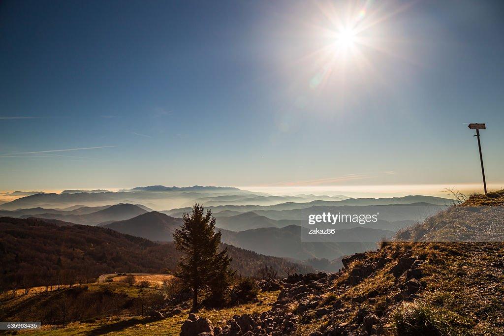 Autumn morning on a mount of italian alps : Stock Photo
