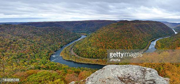 Autumn Panoramic of New River Gorge from Grandview Overlook, WV