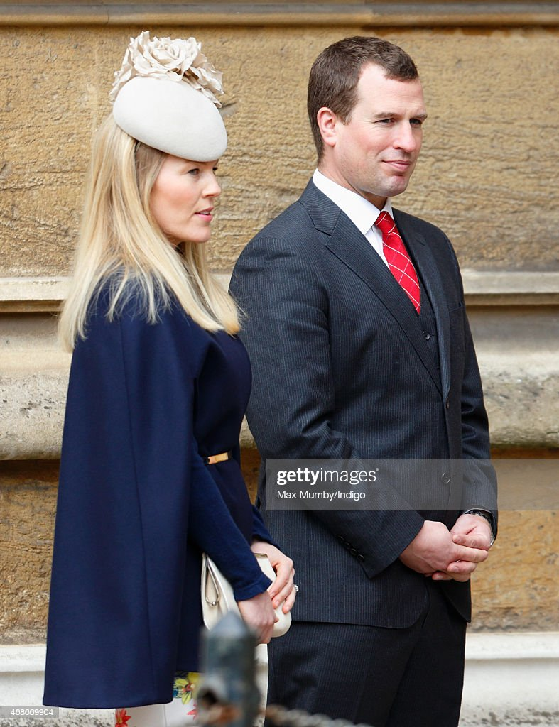 Autumn Phillips and Peter Phillips attend the Easter Matins service at St George's Chapel, Windsor Castle on April 5, 2015 in Windsor, England.