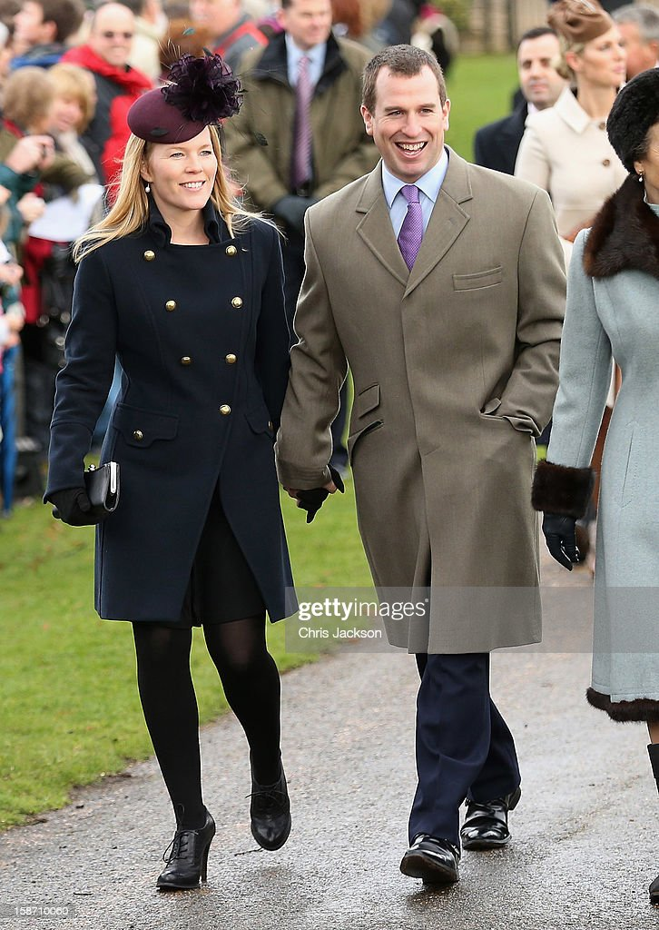 Autumn Phillips and Peter Phillips attend the traditional Christmas Day church service St Mary Magdalene Church, Sandringham on December 25, 2012 near King's Lynn, England.