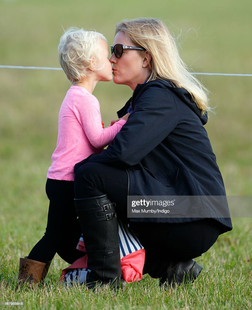 Autumn Phillips kisses daughter Isla Phillips as they attend day 2 of the Whatley Manor International Horse Trials at Gatcombe Park on September 12, 2015 in Stroud, England.