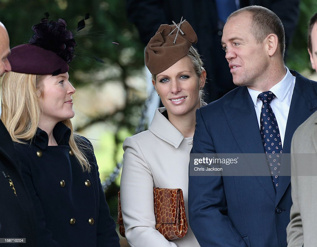 Autumn Phillips, <a gi-track='captionPersonalityLinkClicked' href=/galleries/search?phrase=Mike+Tindall&family=editorial&specificpeople=204210 ng-click='$event.stopPropagation()'>Mike Tindall</a> and <a gi-track='captionPersonalityLinkClicked' href=/galleries/search?phrase=Zara+Phillips&family=editorial&specificpeople=161323 ng-click='$event.stopPropagation()'>Zara Phillips</a> attend the traditional Christmas Day church service at St Mary Magdalene Church, Sandringham on December 25, 2012 near King's Lynn, England.