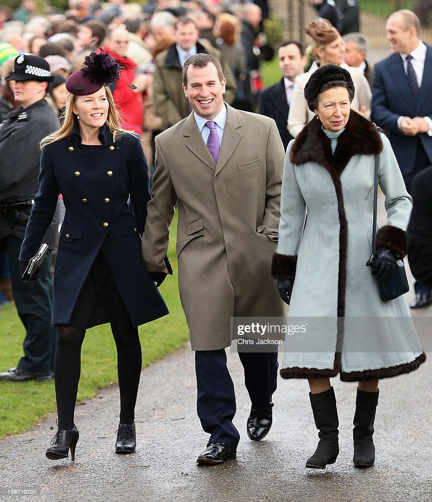 Autumn Phillips, Peter Phillips and Princess Anne, Princess Royal attend the traditional Christmas Day church service at St Mary Magdalene Church, Sandringham on December 25, 2012 near King's Lynn, England.