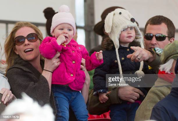 Autumn Phillips Peter Phillips with Savannah Phillips and Isla Phillips attend Day 3 of the Badminton Horse Trials on May 4 2013 in Badminton England