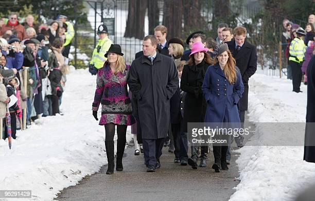 Autumn Phillips Prince William Prince Harry and Zara Phillips Princess Beatrice and Princess Eugenie arrive for the Christmas Day service at...