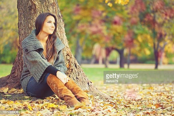 ポートレートにある秋の森