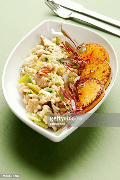 Autumn risotto with fried pumpkin slices