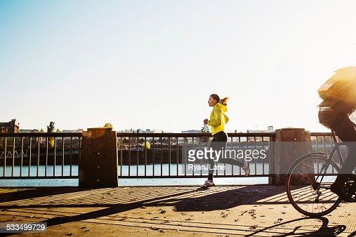 Autumn Run at Portland Waterfront