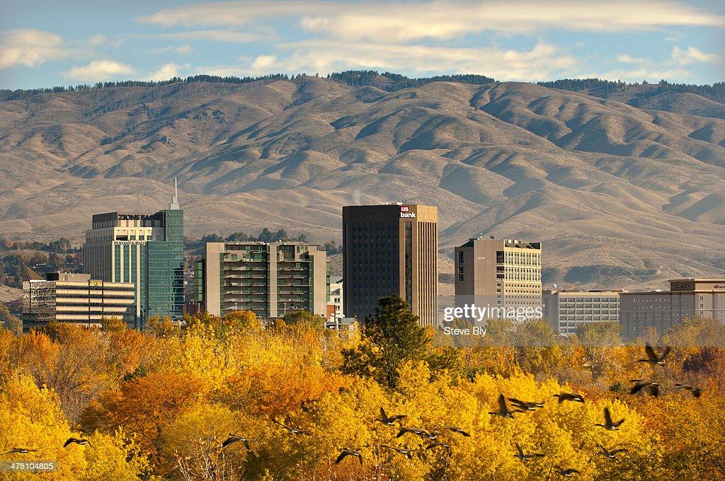 Autumn skyline of Boise