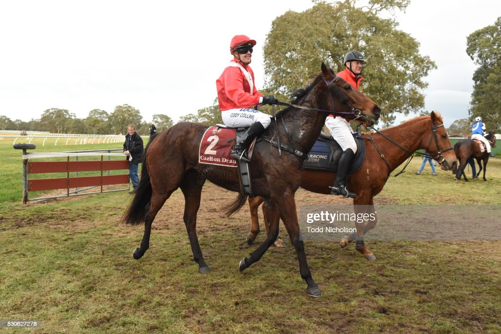 Autumn Sunset ridden by Cody Collins returns after the Bet365 Coleraine Cup 24th Sept BM64 Handicap at Coleraine Racecourse on August 12, 2017 in Coleraine, Australia.