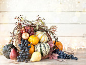 Autumn Thanksgiving cornucopia on a rustic white wood background. Very shallow depth