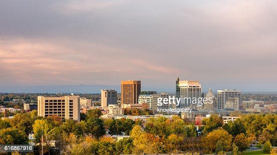 Autumn trees in the city of Boise Idaho : Stock Photo