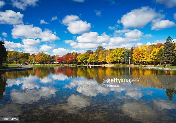 Autumn trees reflected in Beaver Lake, Mount Royal, Montreal, Quebec, Canada