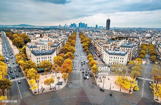 Autumn view from the Arc de Triomphe, Paris