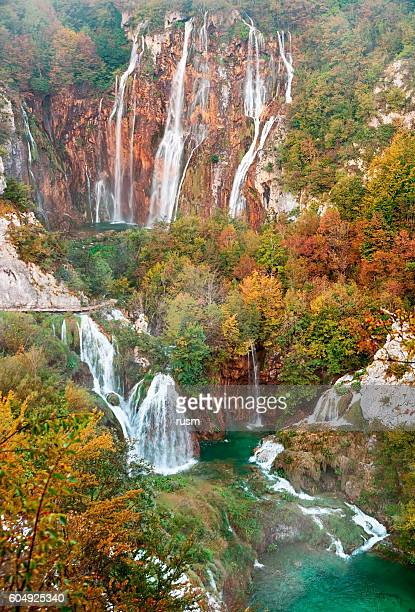 Autumn view of Great Waterfall in Plitvice Lakes, Croatia
