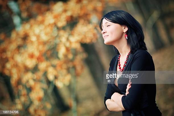 Autumn warm portrait of a beautiful girl