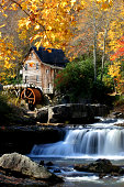 Autumn Waterfall and Watermill with House
