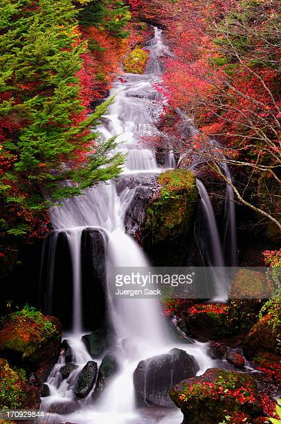 Autumn Waterfall in Nikko at dawn