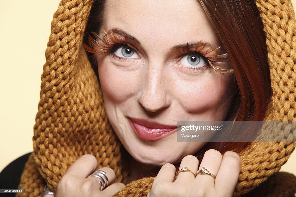 Autumn woman fresh girl glamour brown hair eye-lashes joyful smi : Stock Photo