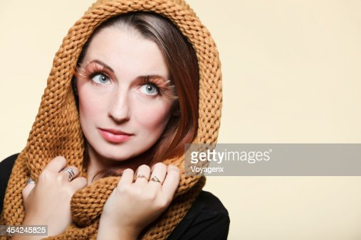 Autumn woman fresh girl glamour brown hair eye-lashes : Stock Photo