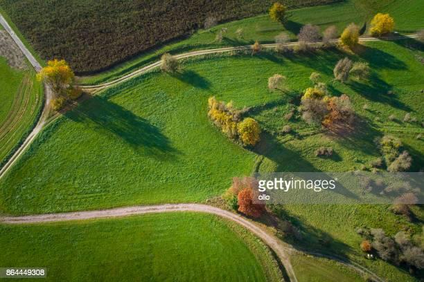 Paysage automnal - vue aérienne