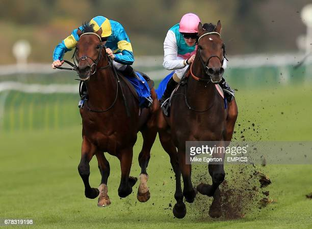 Autun ridden by Tom Queally beats Sicur ridden by Patrick Hills to win The BDN Construction EBF Maiden Stakes