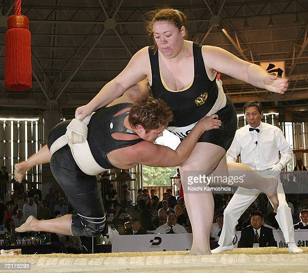 Auua Zhigalova of Russia throws Adele Jones of England in the women's Open Division during the 5th Shinsumo World Championships at Ohama Park Sumo...