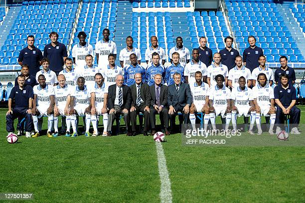 AJ Auxerre football team's players and officials pose for the official picture on September 28 2011 at the AbbeDeschamps stadium in Auxerre French...