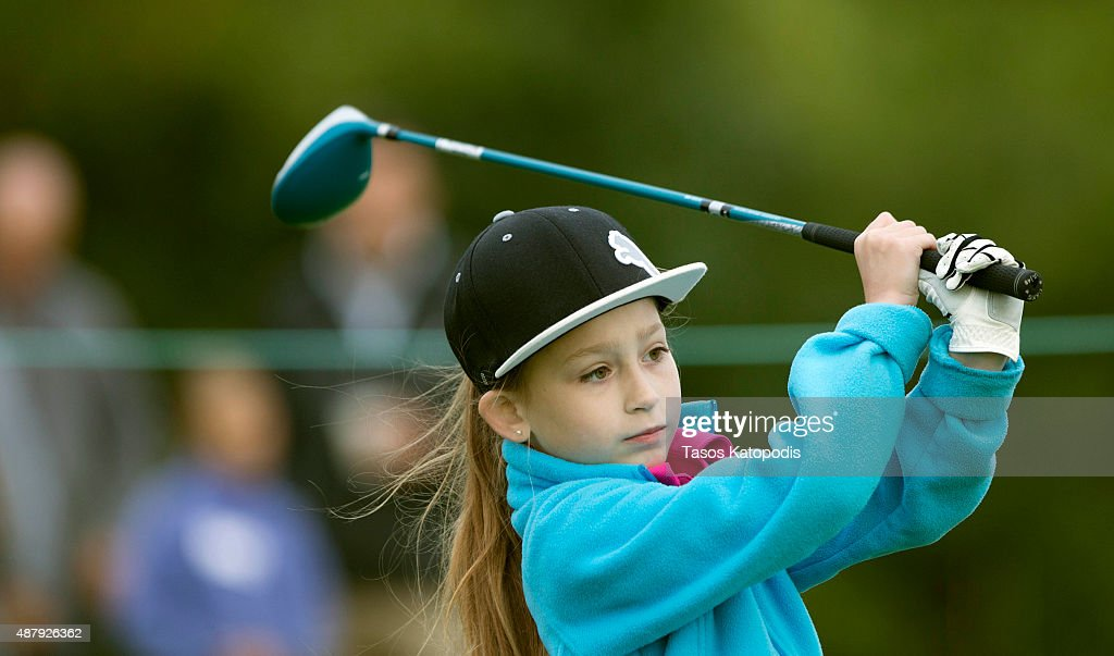 Ava Bunker New Whiteland Indiana drives in the girls 79 Drive Chip and Putt Championship at Valhalla Golf Club on September 12 2015 in Louisville...
