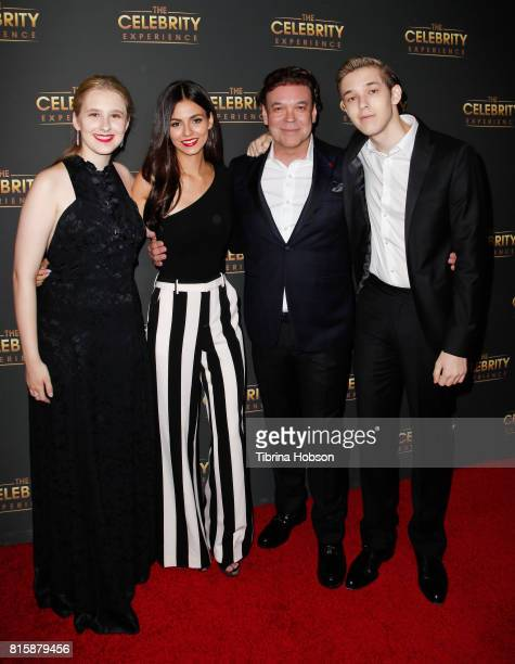 Ava Caceres Victoria Justice George Caceres and Caleb Caceres attend The Celebrity Experience at Hilton Universal Hotel on July 16 2017 in Los...