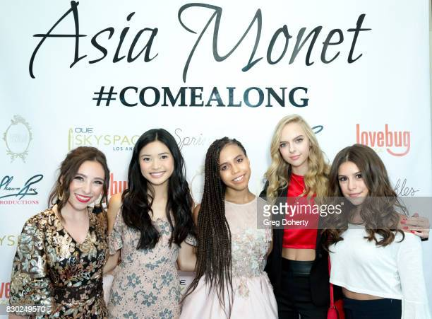 Ava Cantrell Ashley Laio Asia Monet Jessica Belkin and Madisyn Shipman arrive for Asia Monet's 12th Birthday Party at OUE Skyspace LA on August 10...