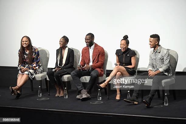 Ava DuVernay Rutina Wesley Kofi Siriboe DawnLyen Gardner and Nicholas L Ashe speak onstage during OWN's private New York screening of 'Queen Sugar'...
