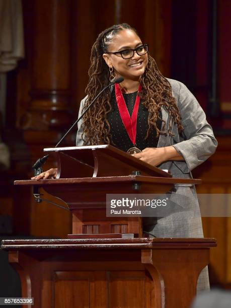 Ava DuVernay was one of eight recipients of the 2017 WEB DuBois Medal at Harvard University's Sanders Theatre on October 4 2017 in Cambridge...