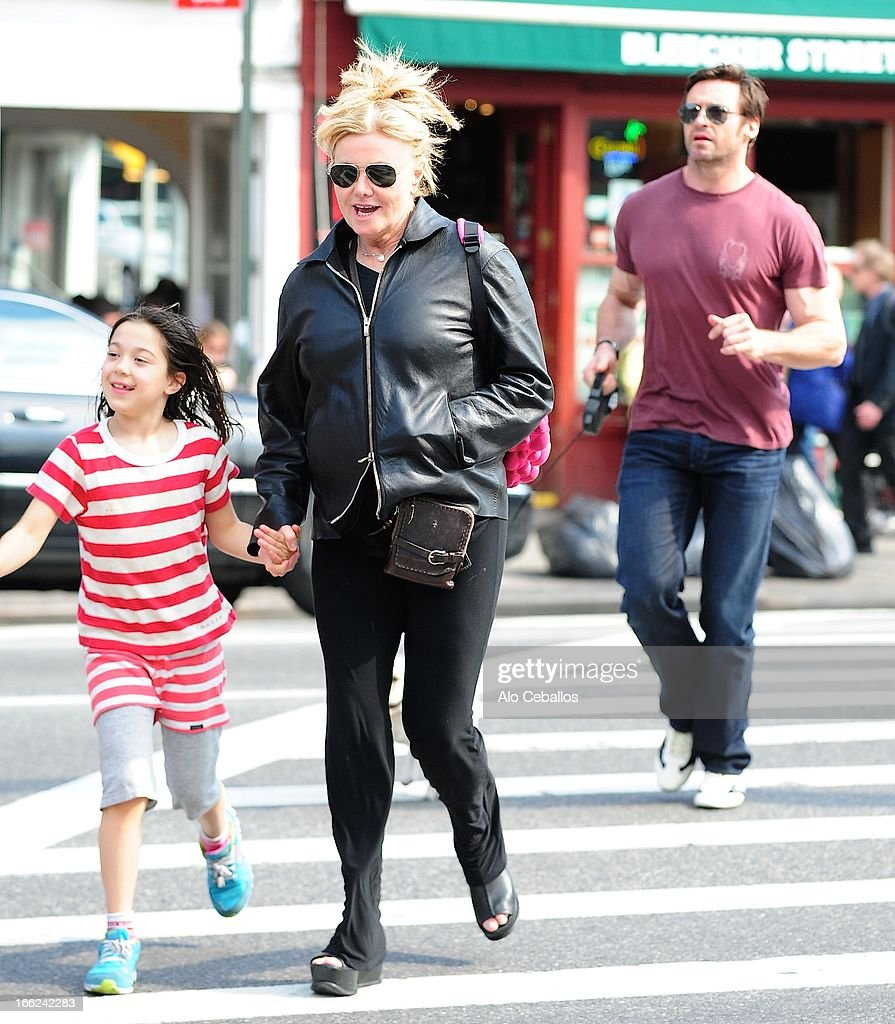 Ava Eliot Jackman, Deborra-Lee Furness and Hugh Jackman are seen in the West Village on April 10, 2013 in New York City.