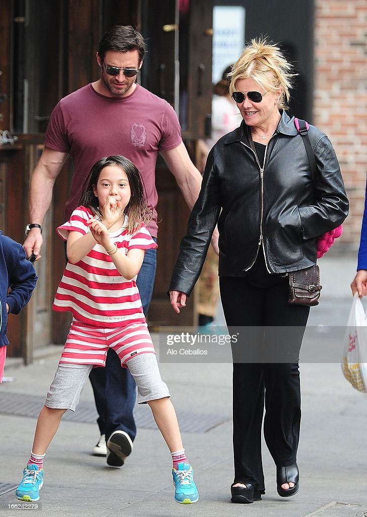 Ava Eliot Jackman, Hugh Jackman and Deborra-Lee Furness are seen in the West Village on April 10, 2013 in New York City.